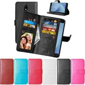 Dubbelflip Flexi 9-kort mobilplånbok Samsung Galaxy J7 2017 SM-J730F