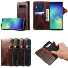 Mobilplånbok 3-kort äkta läder Samsung Galaxy S10 (SM-G973F)