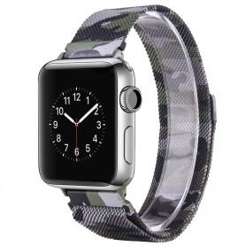 Apple Watch 38mm Serie 1,2,3 Armband Milanese Camo - Grön